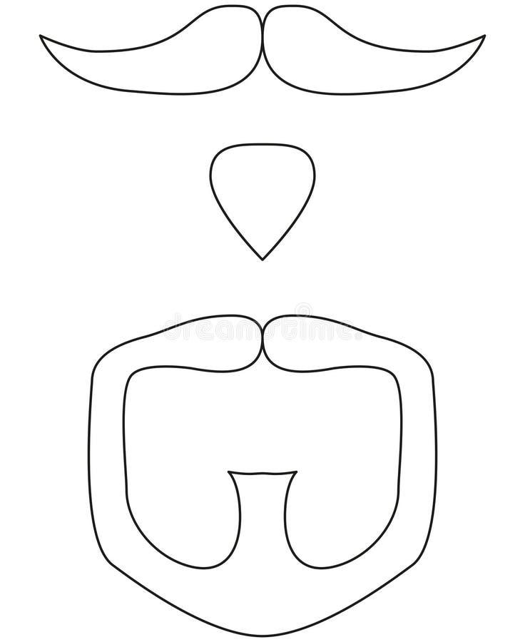 Line art black and white goatee set. Line art black and white moustache beard goatee set. Hipster vector illustration for gift card certificate sticker, badge stock illustration