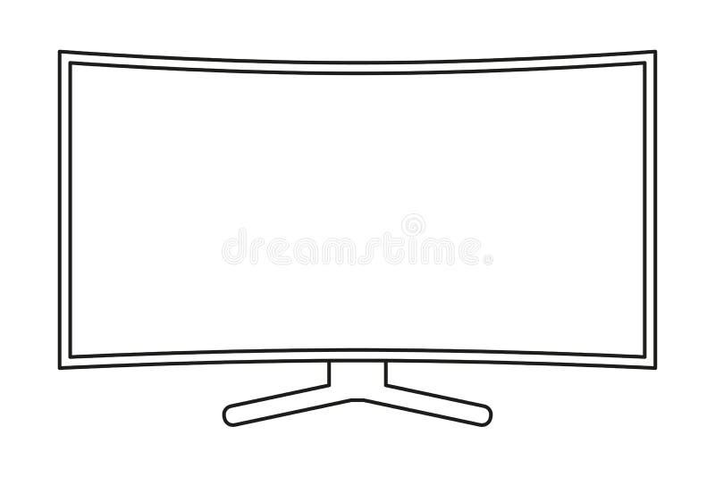 Line art black and white hd tv vector illustration