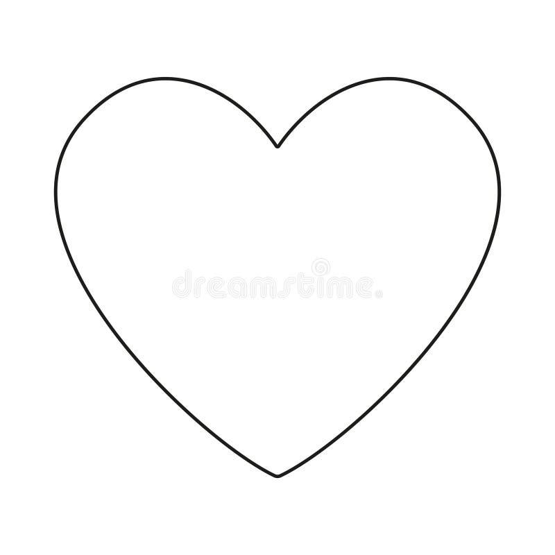 Line art black and white heart symbol vector illustration
