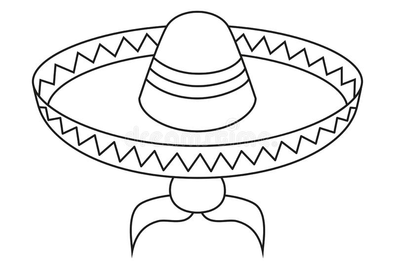 Line art black and white mexican man avatar. Fiesta carnival hat and moustache. Mexico theme vector illustration for icon, stamp, label, badge, certificate vector illustration