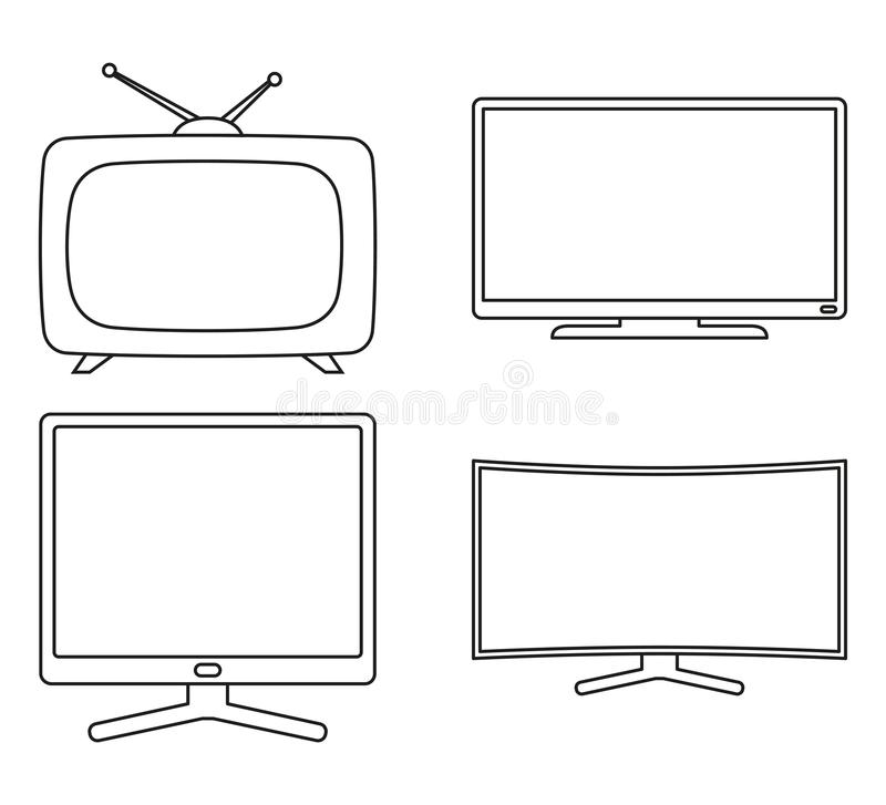 Line art black and white modern tv set. Media theme vector illustration for icon, sticker sign, patch, certificate badge, gift card, stamp logo, label, poster stock illustration