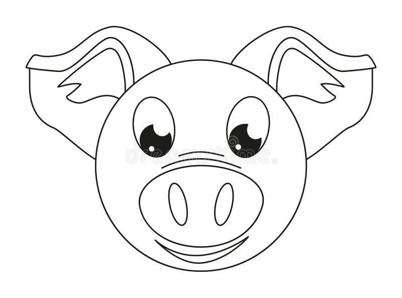 Line Art Black And White Pig Face Stock Illustration - Illustration ...
