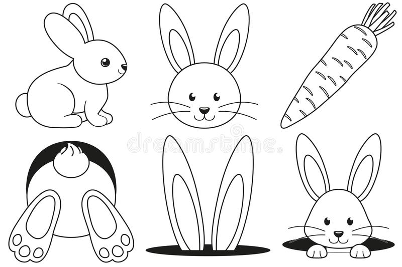 Line art black and white rabbit carrot icon set. Line art black and white rabbit pose hole carrot icon set poster. Coloring book page. Easter themed vector stock illustration