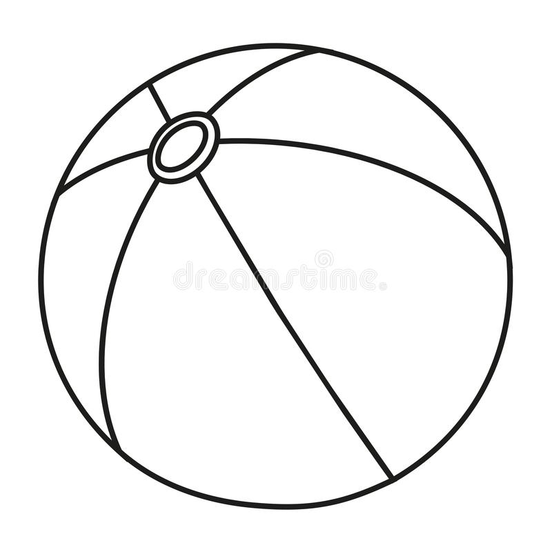 Line art black and white rubber ball royalty free illustration