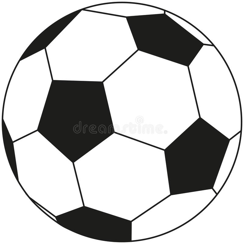 Line art black and white soccer ball icon. royalty free illustration