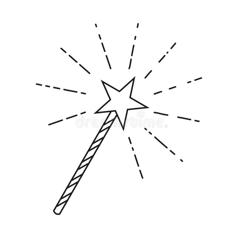 Line art black and white star magic wand stock illustration