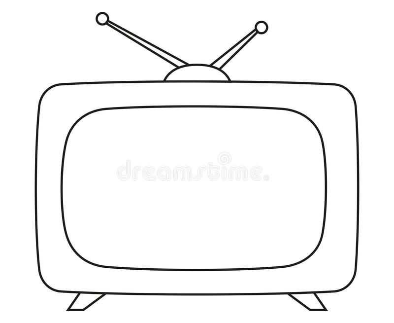 Line art black and white vintage tv. Coloring page for adults and kids. Media theme vector illustration for icon, sticker sign, patch, certificate badge, gift stock illustration