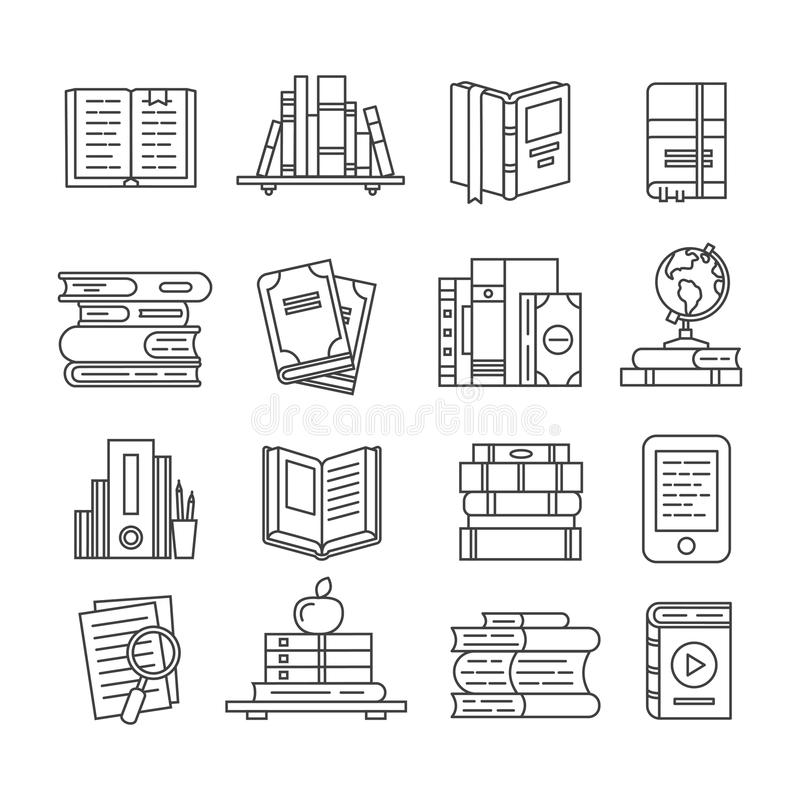 Line Art book icons. Literary magazines, study diary and bible. Open textbook, ebook and audio books thin outline icon. Line Art book icons. Literary magazines stock illustration
