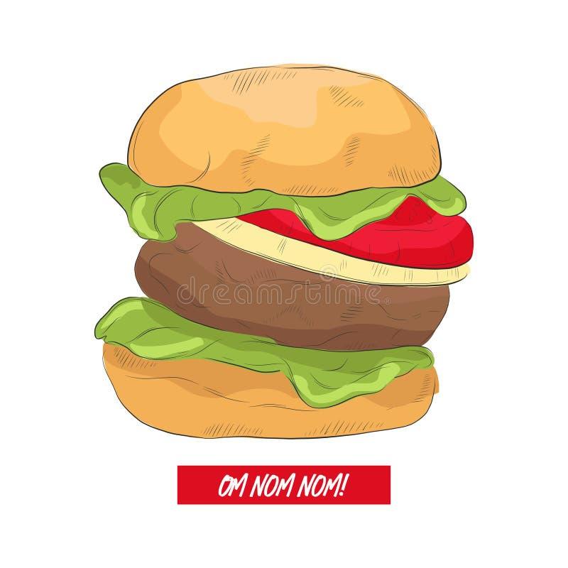 Line art burger with funny text. Hand drawn illustration with tasty hamburger menu art. Cafe poster decoration. American food stock illustration