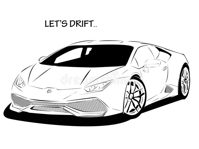 LINE ART CAR let`s drift stock photos