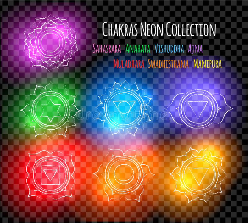 Line art chakra symbols with neon glow vector illustration