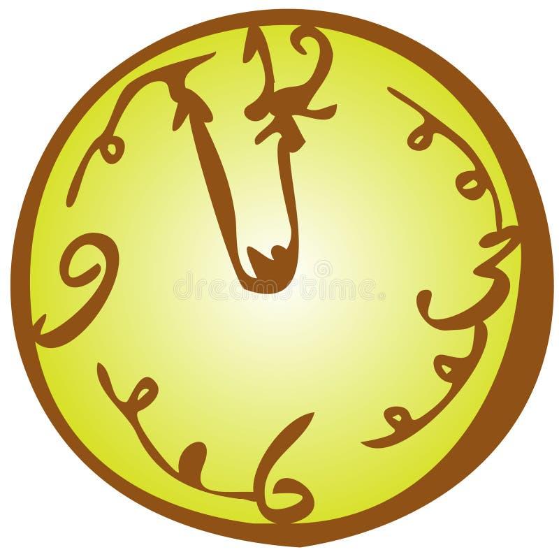 Line art clock on the wall vector illusration royalty free illustration