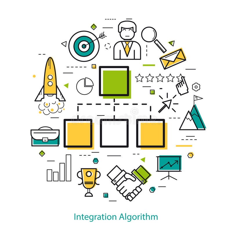 Line Art Concept - Integration Algorithm. Vector Round Linear Concept - Integration Algorithm. Block diagram and different business icons royalty free illustration