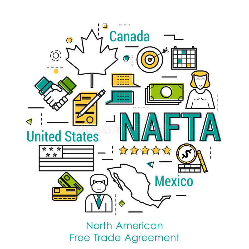 Line Art Concept Nafta Stock Illustration Illustration Of