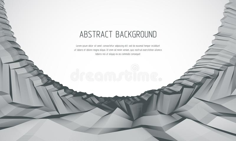 Line art 3d abstract vector background with geometric linear terrain surface of fantastic cosmic planet landscape, science. Fiction illustration. Usable as vector illustration