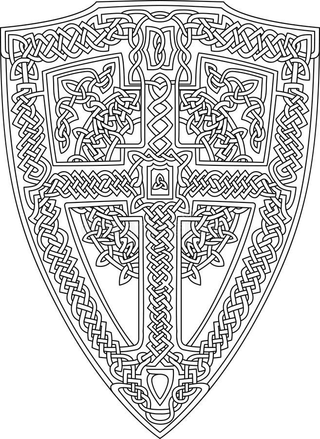 Coloring Book Page With Celtic Shield Stock Illustration ...
