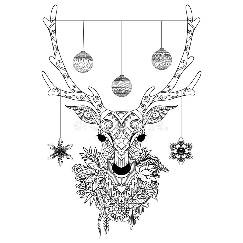 Line art design of Christmas deer head with decorative balls and snowflakes and flowers. Vector illustration royalty free illustration