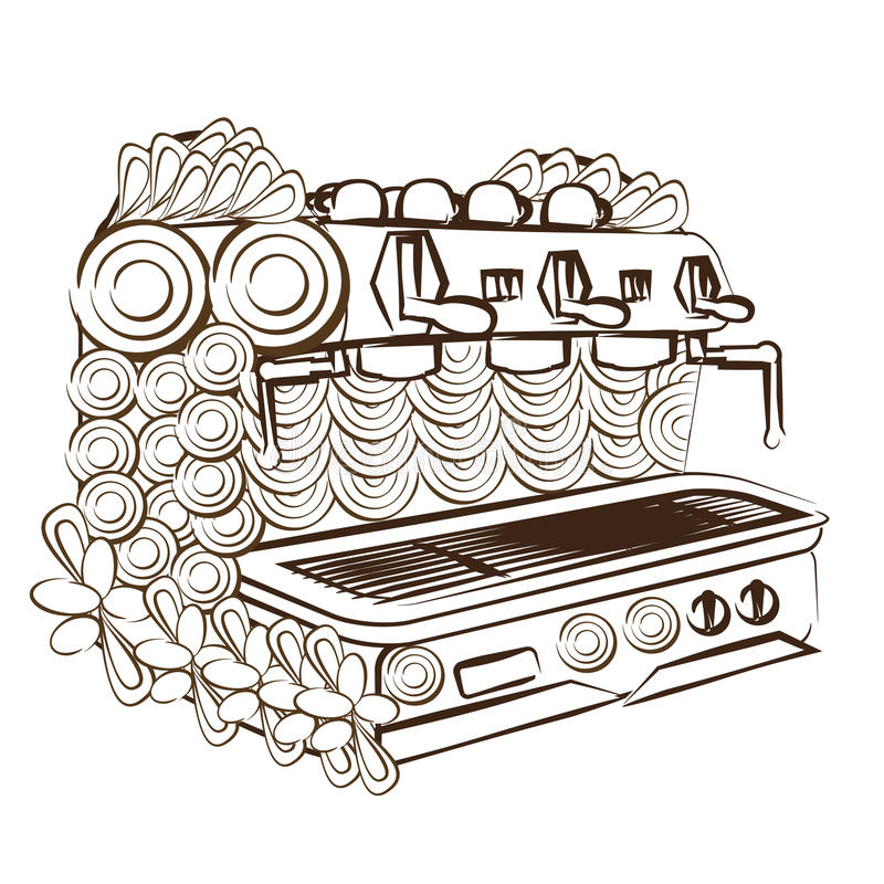 Line art design coloring page coffee machine royalty free stock image