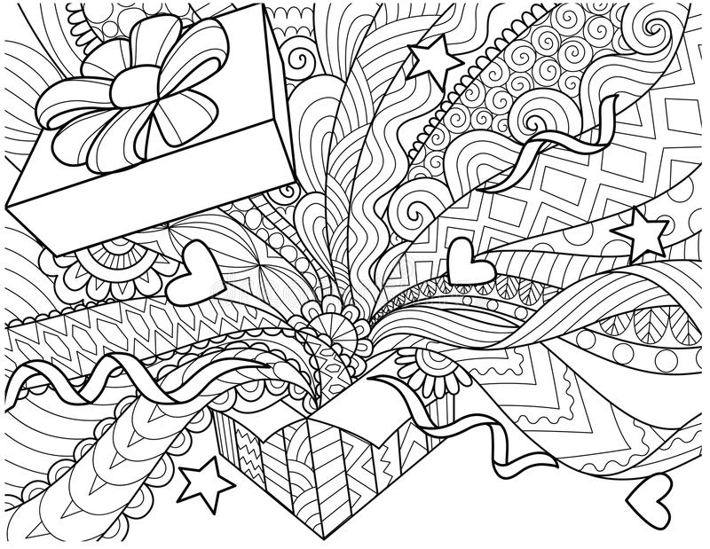 Line art design of openned gift box with confetti spread out of the box for design element and adult coloring book page. Vector il royalty free illustration