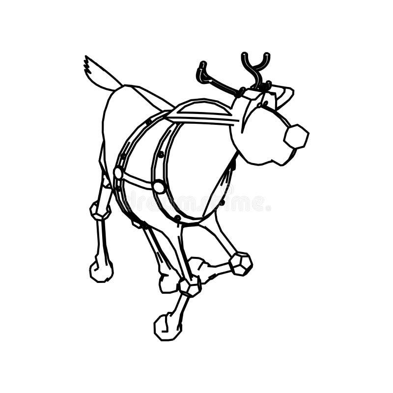 Line Art Design Of Rudolph`s Reindeer Stock Illustration ...