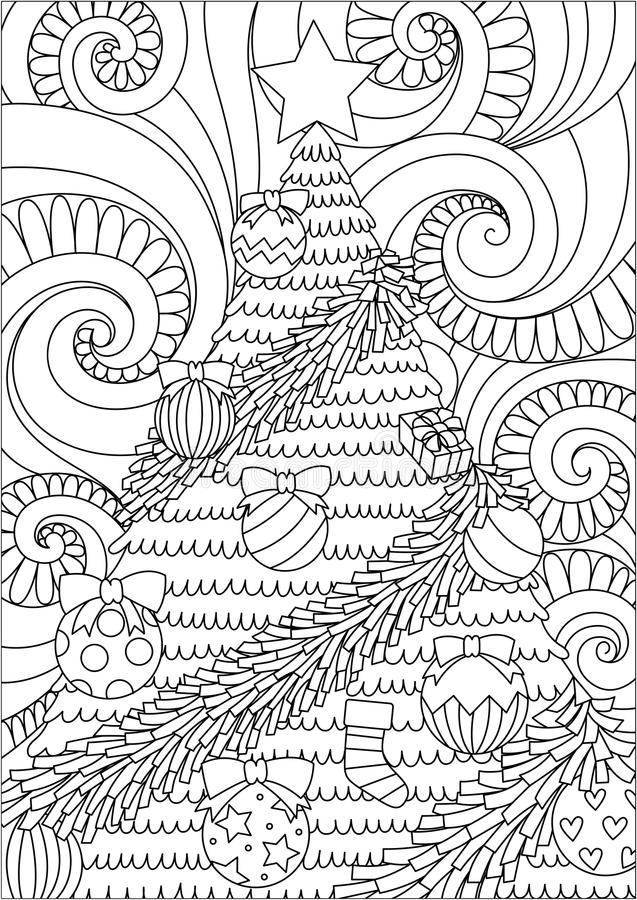 Line art design of storm scrolling and Christmas tree for print design and adult coloring book page. Vector illustration vector illustration