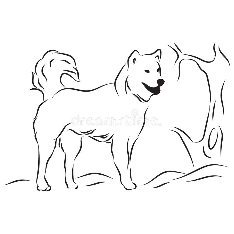 Line art design with the theme of the wolf image. Line art of wolf and tree. Vector design element royalty free illustration