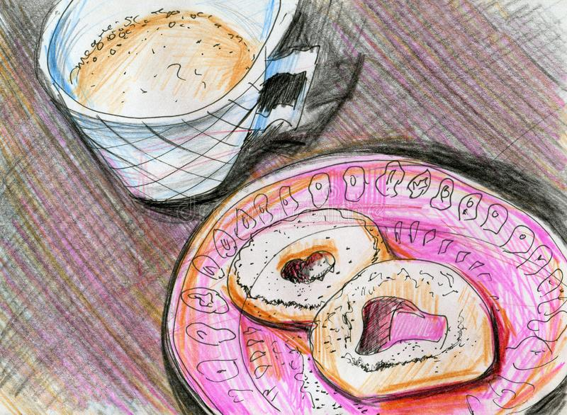 Line art with donuts and coffee. Two Leningrad donuts with icing sugar on a pink plate with a pattern. Barrel coffee with condensed milk with froth in blue cup stock illustration
