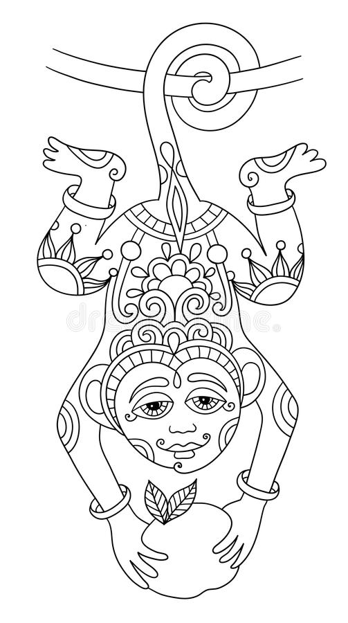 Download Line Art Drawing Of Ethnic Monkey In Decorative Stock Vector    Illustration Of Decorative,