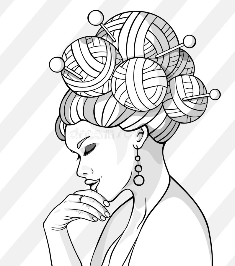 Vector illustration of a beautiful girl with skeins of thread instead of hair.Fashion illustration.Female silhouette. Line art drawing of a girl with skeins of royalty free illustration