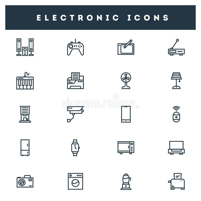 Line art electronic icons set on white background. royalty free illustration