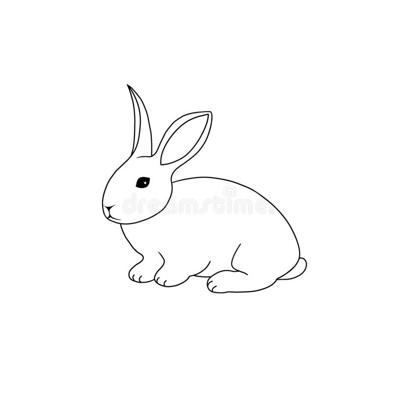 Line art farm animal rabbit hand drawn illustration isolated on white background royalty free illustration
