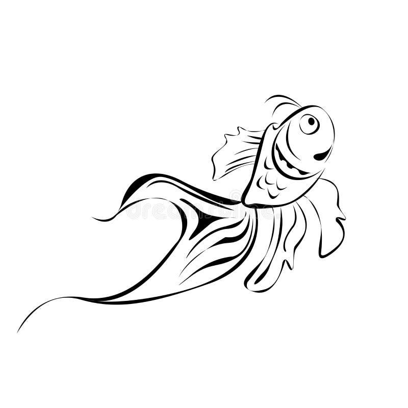 Line art fish stock image