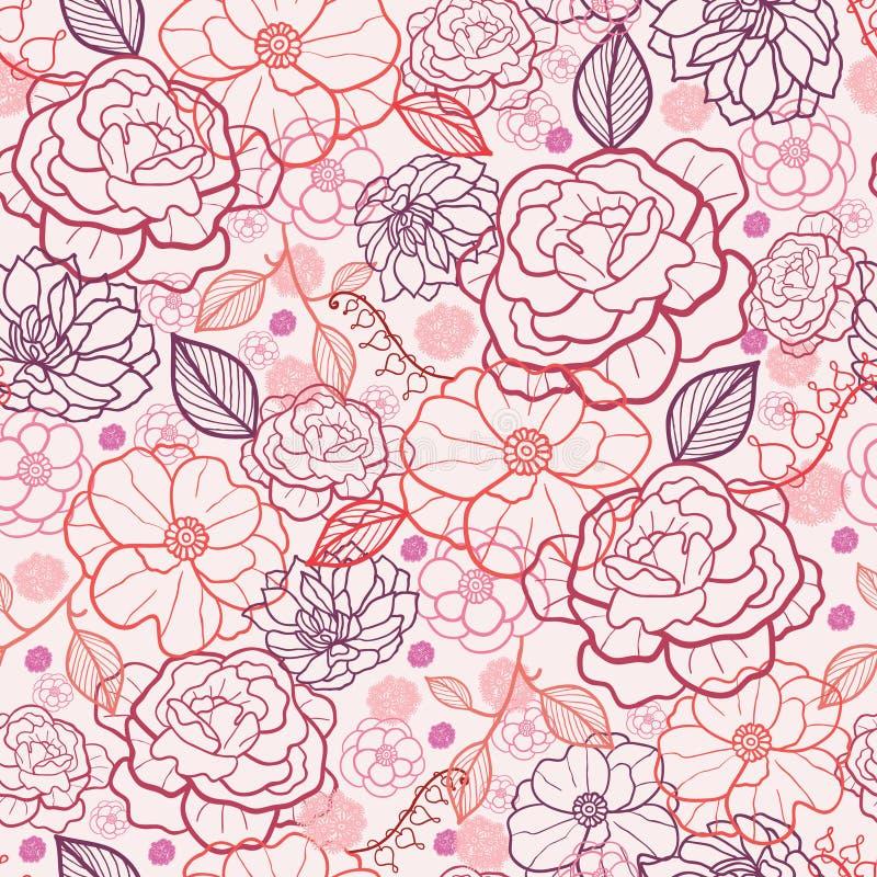Line Art Flower Background : Line art flowers seamless pattern background stock images