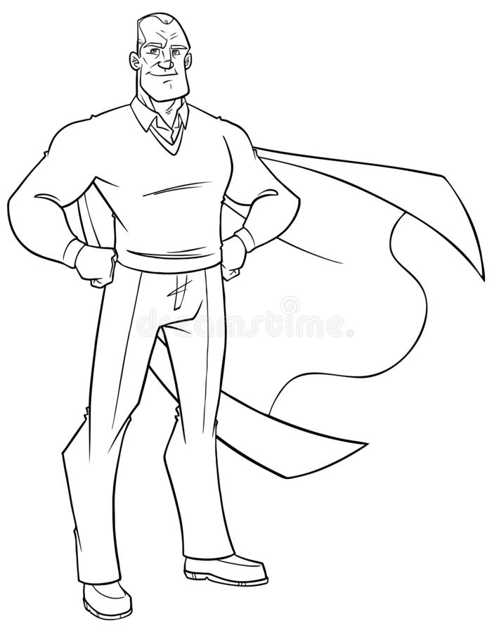 Super Grandpa Line Art. Line art full length illustration of superhero grandfather smiling while posing proud and confident with his cape isolated on white royalty free illustration