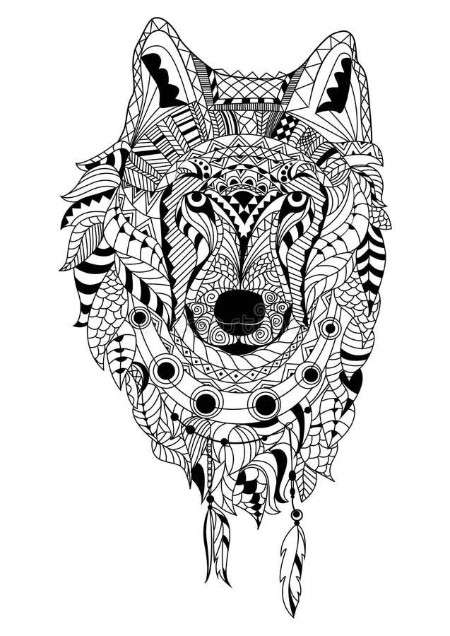 Line art hand drawing black wolf isolated on white background. Dudling style. Tatoo. Zenart. Coloring for adults. Line art hand drawing black wolf isolated on stock illustration