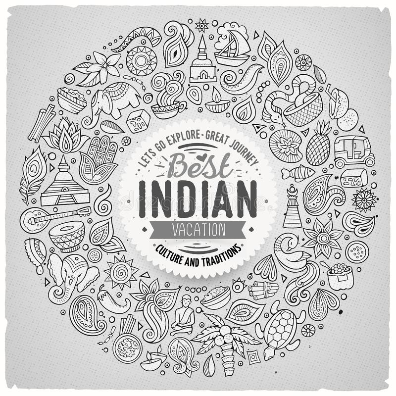 Vector set of Indian cartoon doodle objects. Line art hand drawn set of Indian cartoon doodle objects, symbols and items. Round frame composition vector illustration