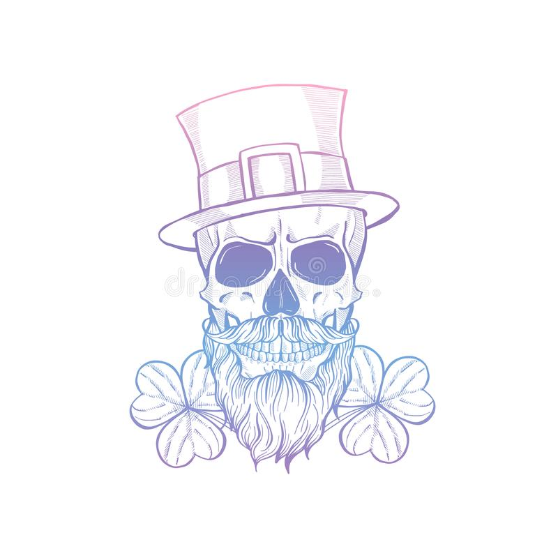 Hand drawn angry skull of leprechaun royalty free stock photos