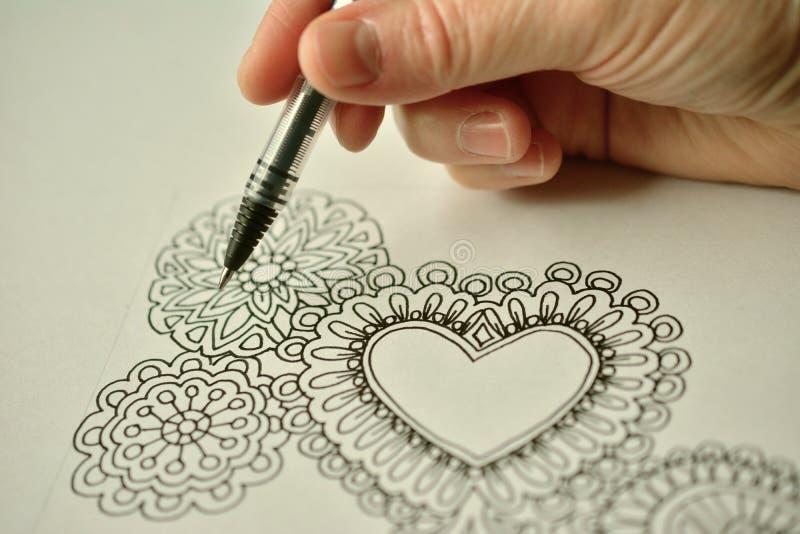 Line art hearts stock photography