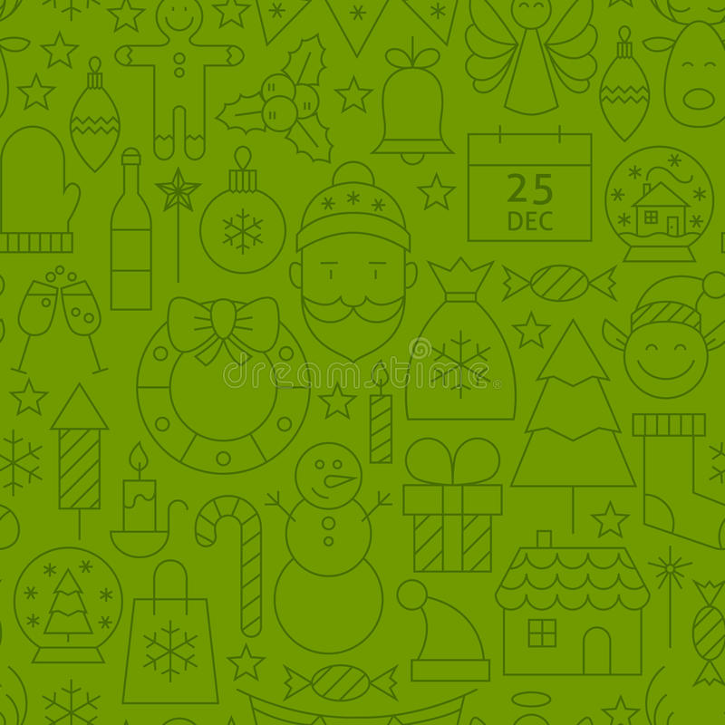 Line Art Holiday Christmas Green Seamless Pattern vector illustration