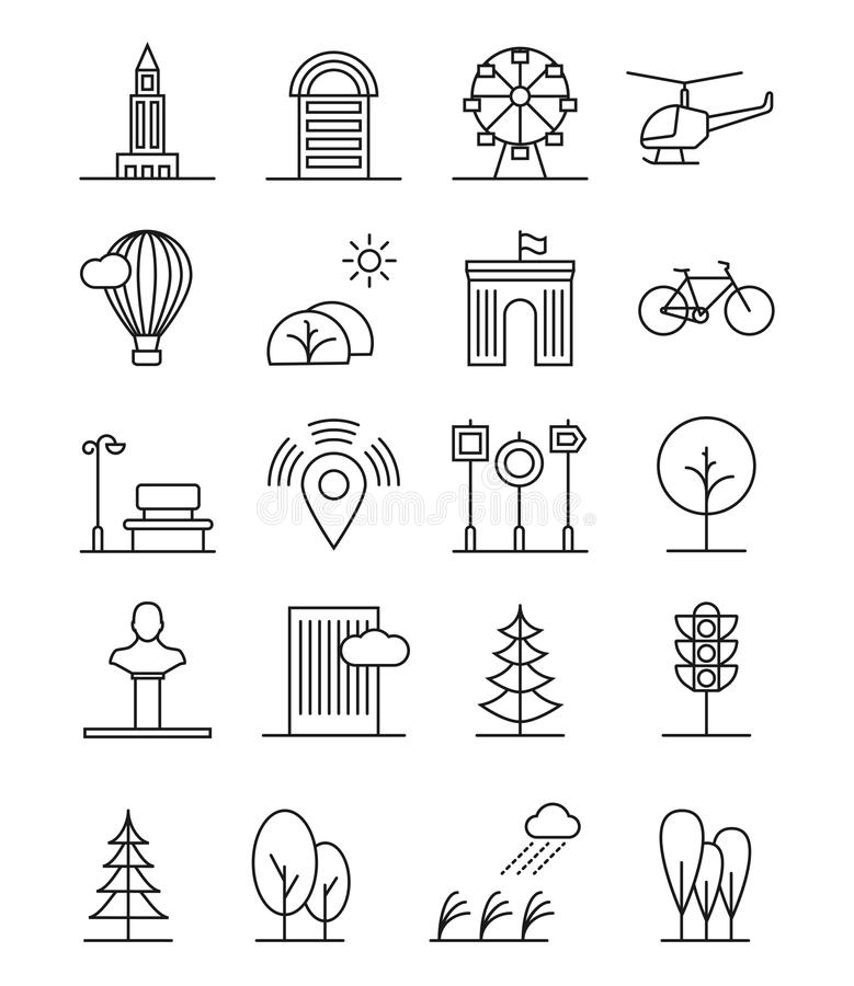 Line Art House Vector : Line art house urban landscape icons linear trees and