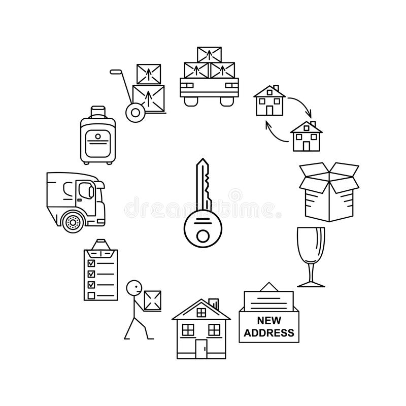 Line art icon infographic set for Moving. Thin line art icons. Flat style illustrations isolated. Moving. Thin line art icons. Flat style illustrations isolated stock illustration