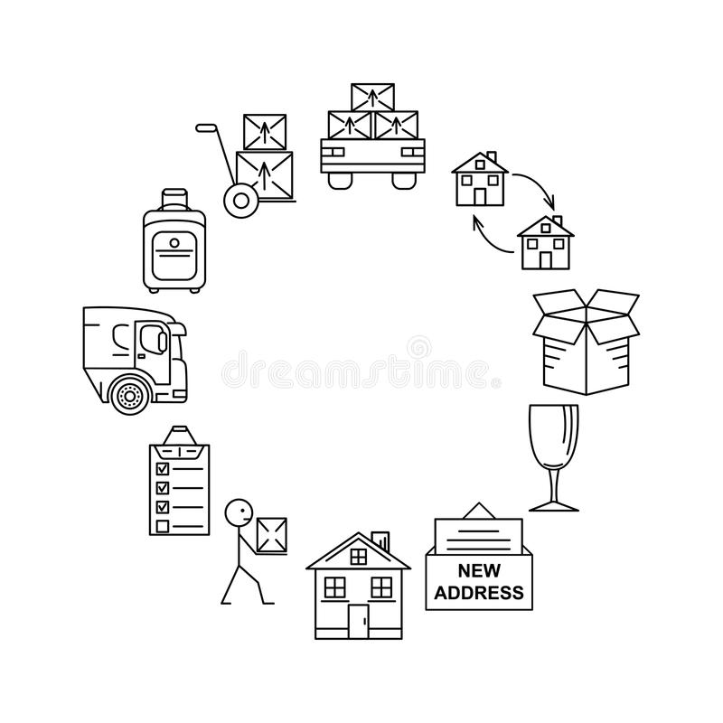 Line art icon infographic set for Moving. Thin line art icons. Flat style illustrations isolated. Moving. Thin line art icons. Flat style illustrations isolated royalty free illustration