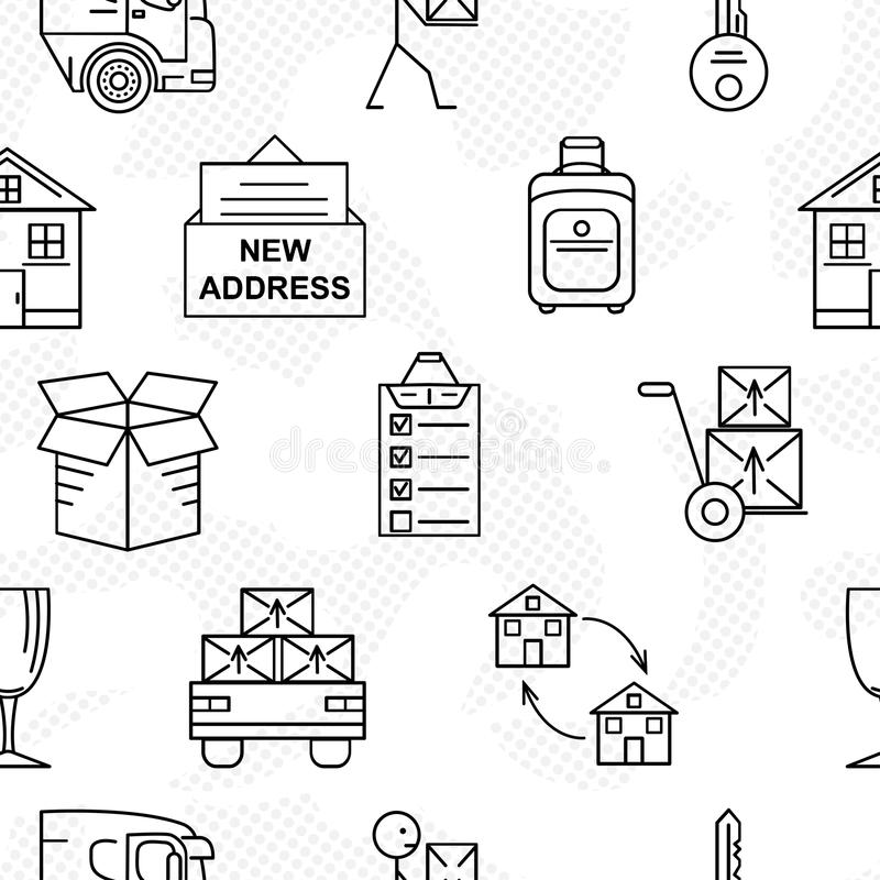 Line art icon seamless pattern for Moving. Thin line art icons. Flat style illustrations isolated. royalty free illustration