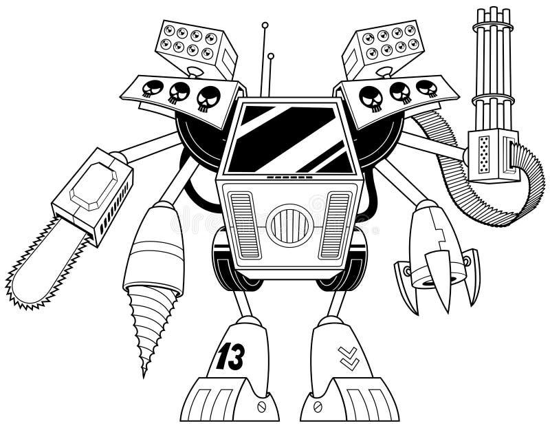Killer Robot Line Art stock photo