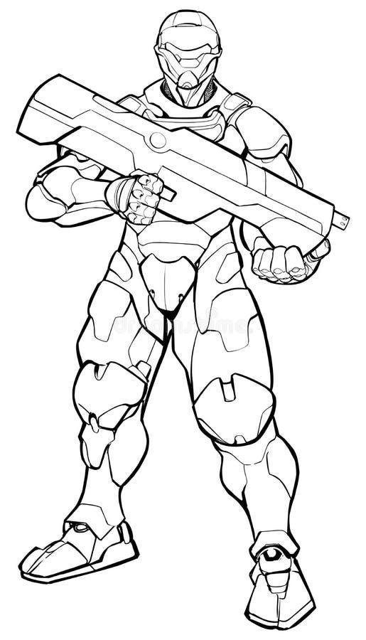 Futuristic Soldier Line Art vector illustration