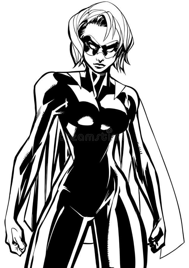 Superheroine Battle Mode Line Art royalty free illustration