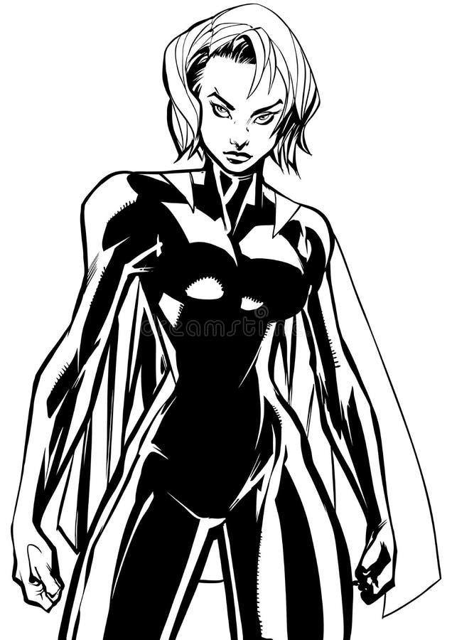Superheroine Battle Mode No Mask Line Art vector illustration