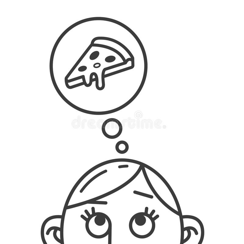 Line art illustration of the thought of pizza slice stock illustration