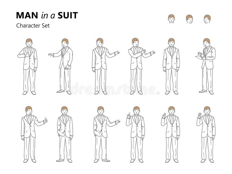 Line art illustration of a young man in a suit. royalty free illustration