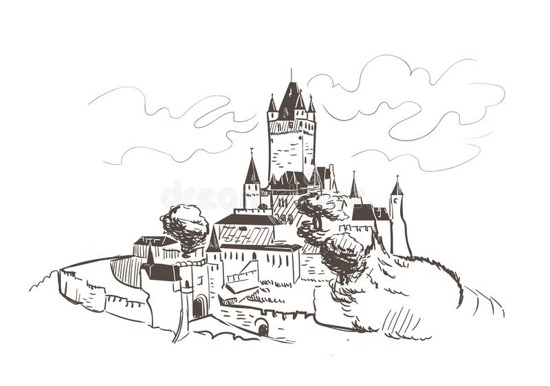 Line art isolated Reichsburg castle vector sketch stock illustration